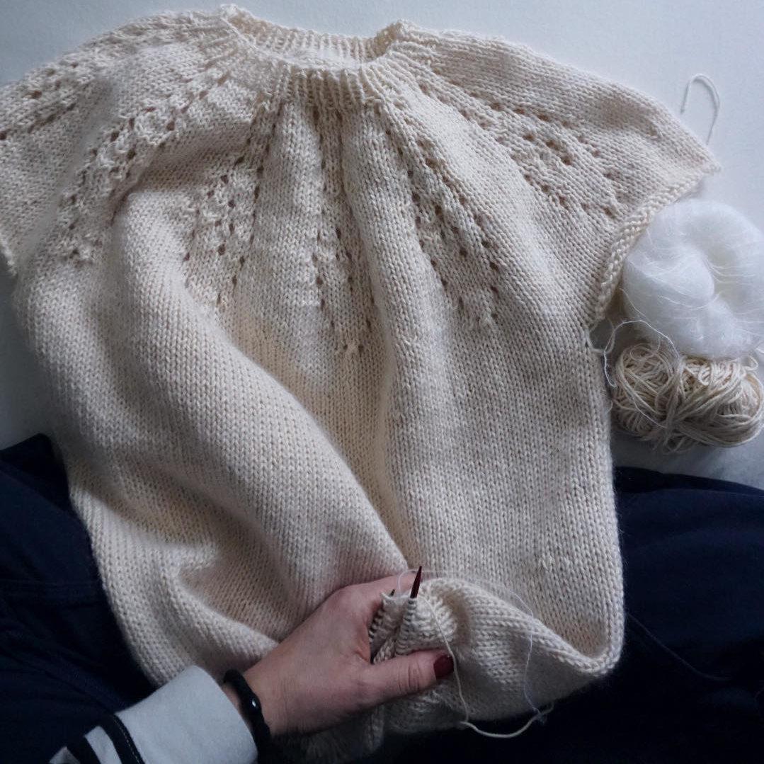 genser dame med rundfelling
