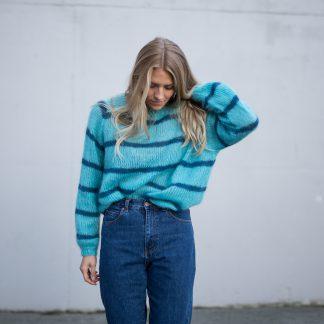 strikkeoppskrift genser dame striper