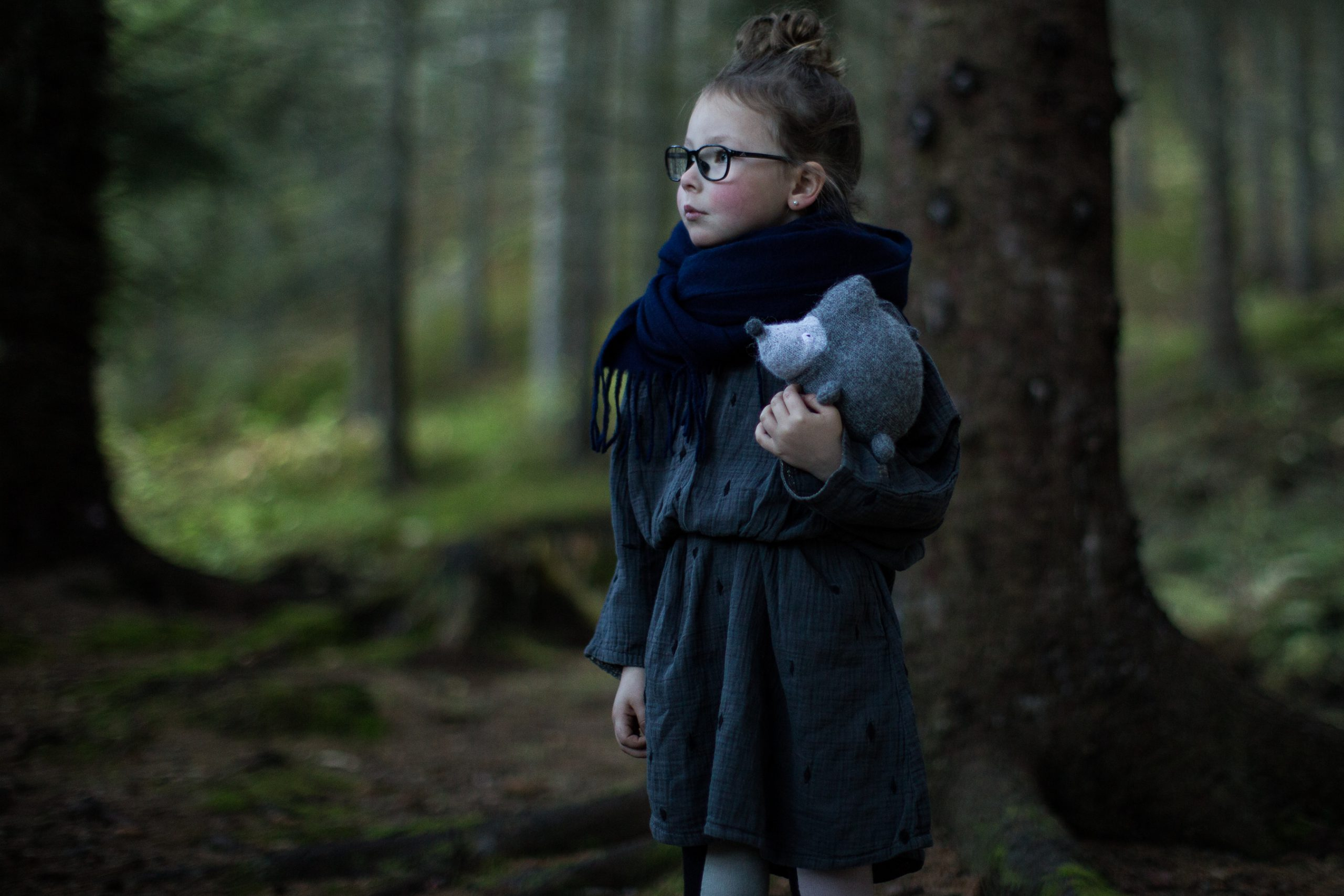 Girl model ministyle hedgehod handmade forest