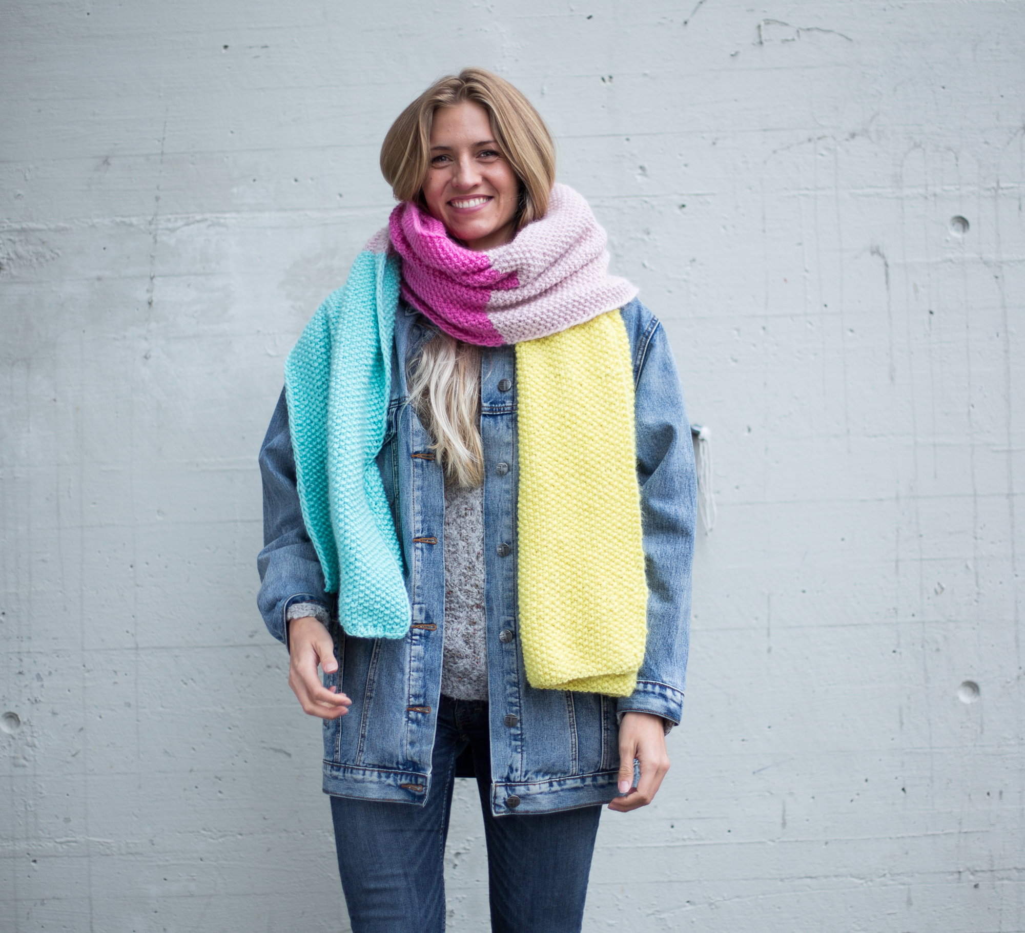 knitting pattern scarf , seed stitches, perlestrikk