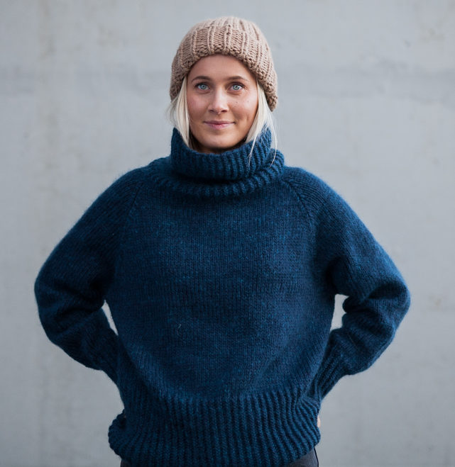 høyhalset genser dame strikkeoppskrift