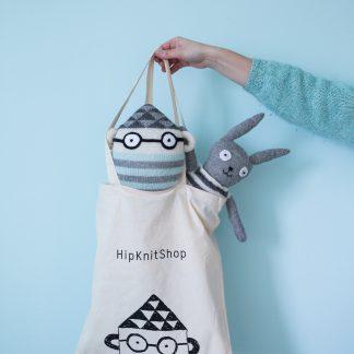 tote bag, long handles with stuffed animal , plush toys.