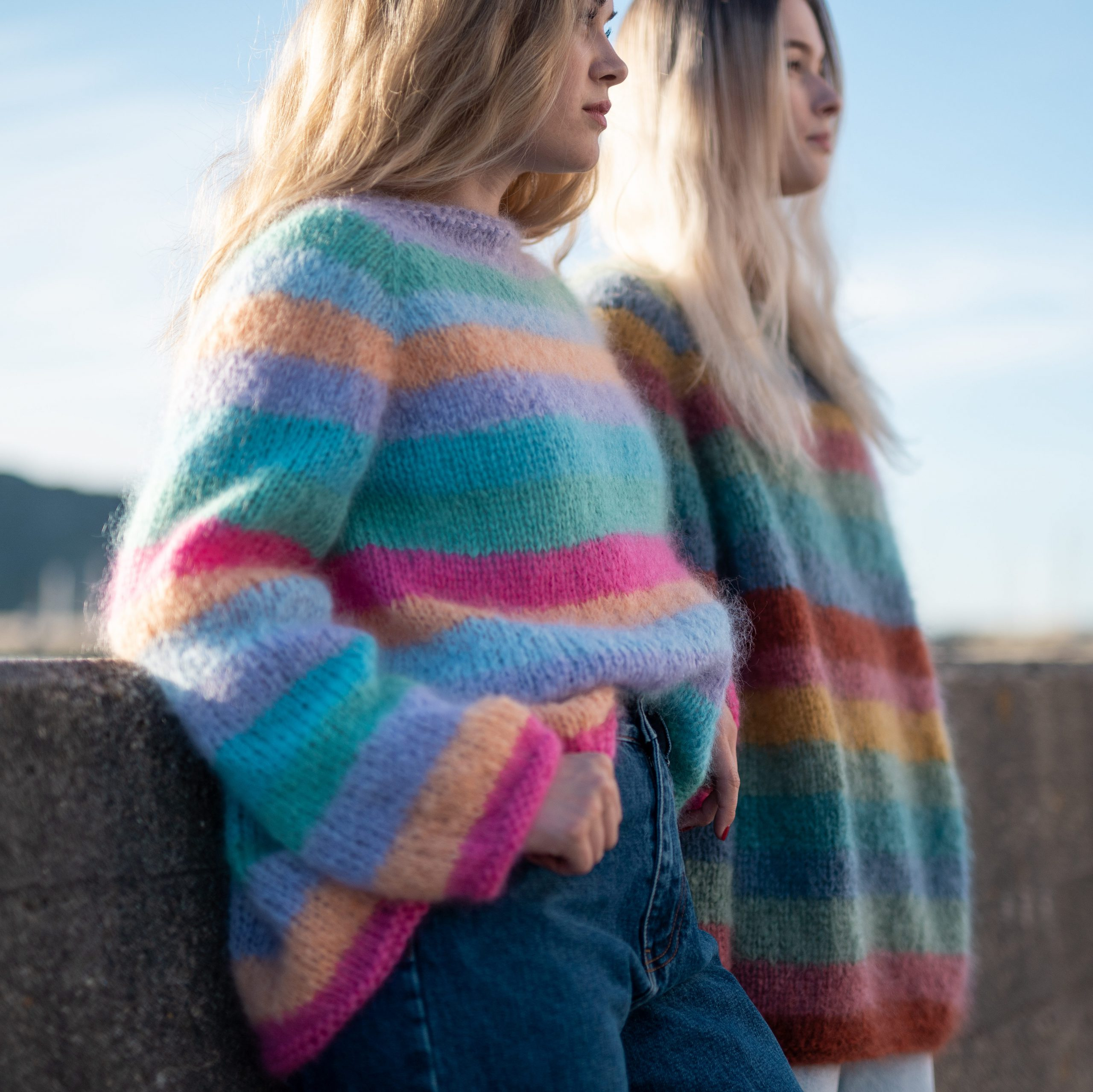 strikkeoppskrift damegenser striper