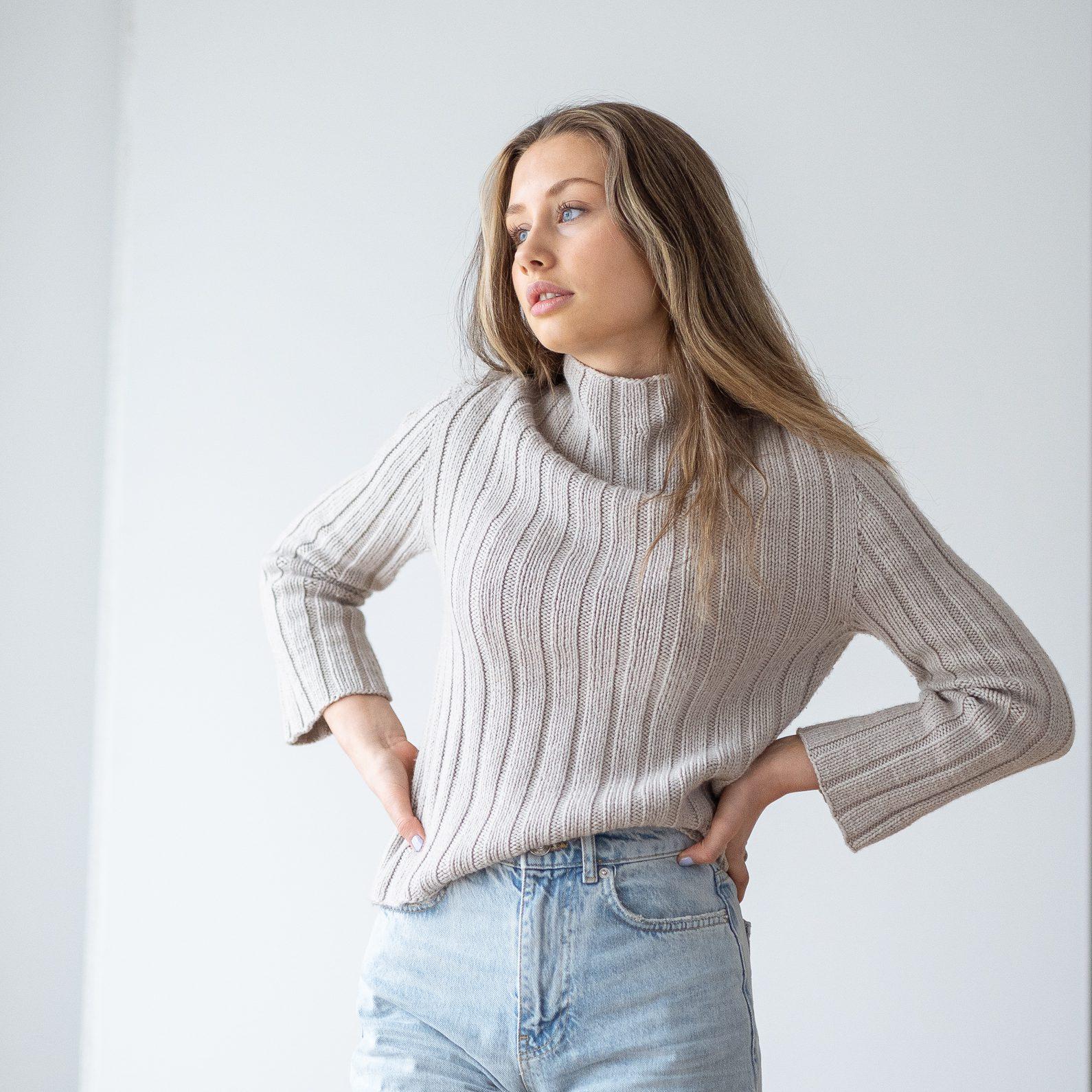 strikkeoppskrift genser ribbestrikk